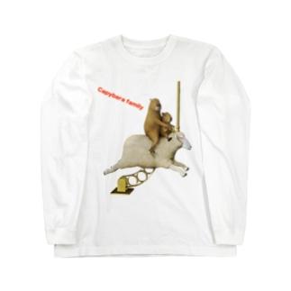 カピバラファミリー Type2 Long sleeve T-shirts