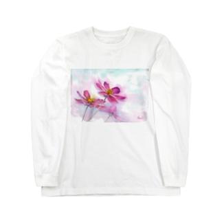 コスモス「どこまでも」透明水彩お花プリント Long sleeve T-shirts