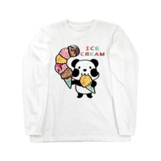CT54ズレぱんだちゃん アイスを食べよう_bs Long sleeve T-shirts