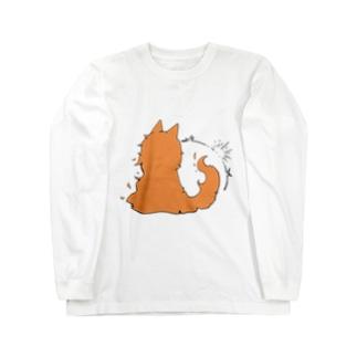 冒涜的な猫グア(背中色付き) Long sleeve T-shirts
