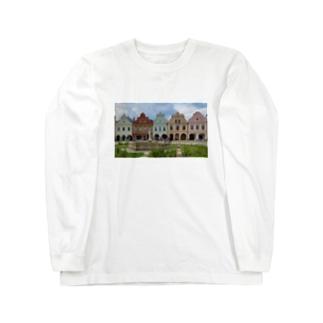 チェコ テルチの街並み Long sleeve T-shirts