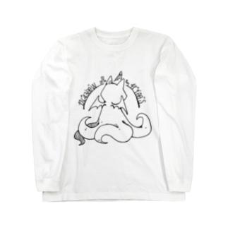 冒涜的な猫ルフ(背中色なし) Long sleeve T-shirts