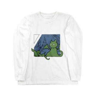 冒涜的な猫ルフ(色付き) Long sleeve T-shirts
