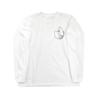 ポケットぶらさがり白猫 Long sleeve T-shirts