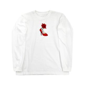 薔薇とヒール Long sleeve T-shirts