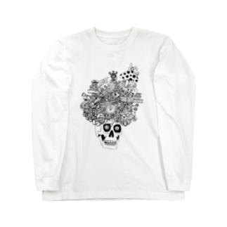 ガイコツアフロ Long sleeve T-shirts