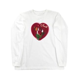 猫キッスレッド Long sleeve T-shirts