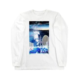 青い写真とサカナの絵 Long sleeve T-shirts