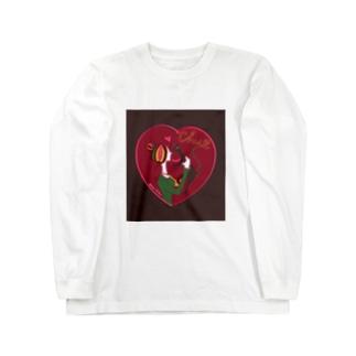猫キッス レッド Long sleeve T-shirts