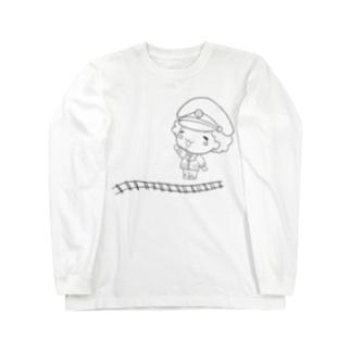 車掌のほんわかぱんちくん(モノクロ) Long sleeve T-shirts