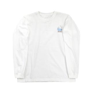 おしゃまな止まり木セキセイインコちゃん【まめるりはことり】 Long sleeve T-shirts