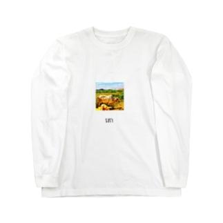 カンボジア文字付き牛フォトT Long sleeve T-shirts