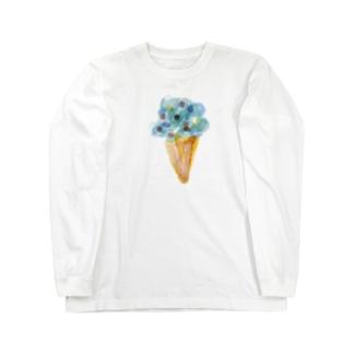 青いアイスクリーム Long sleeve T-shirts