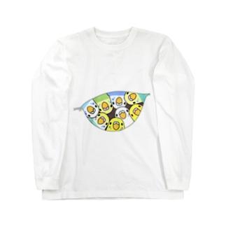 三密です!むちむちセキセイインコさん【まめるりはことり】 Long sleeve T-shirts