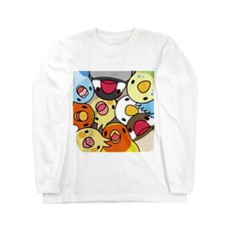 みっちりむっちり過密鳥まみれさん【まめるりはことり】 Long sleeve T-shirts