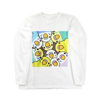 みっちりむっちり過密セキセイインコさん【まめるりはことり】 Long sleeve T-shirts