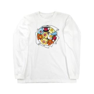 三密です!むちむち鳥まみれ【まめるりはことり】 Long sleeve T-shirts