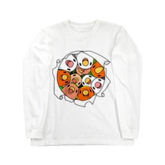 三密です!むちむちコザクラインコさん【まめるりはことり】 Long sleeve T-shirts
