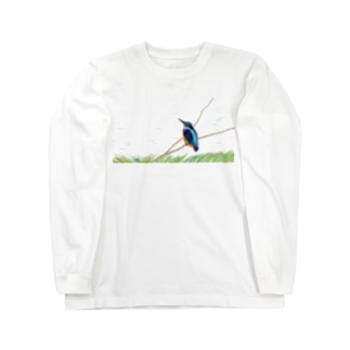 鳥 カワセミ Long sleeve T-shirts