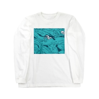 ぎゅうぎゅうオオサンショウウオ ブルー Long sleeve T-shirts