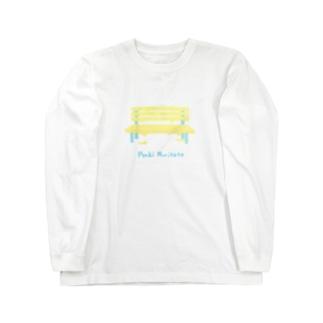 ペンキ塗りたてベンチ Long sleeve T-shirts