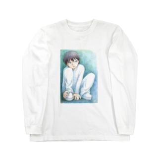 寂しそうな少年 Long sleeve T-shirts