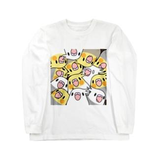 まめるりはことりのみっちりむっちり過密オカメインコさん【まめるりはことり】 Long sleeve T-shirts