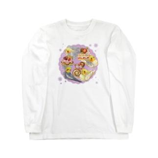 ケーキとオカメインコ Long sleeve T-shirts