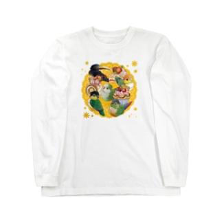 ケーキと中型インコ Long sleeve T-shirts