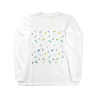 たっぷりセキセイインコちゃん【まめるりはことり】 Long sleeve T-shirts