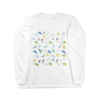 めっちゃセキセイインコちゃん【まめるりはことり】 Long sleeve T-shirts