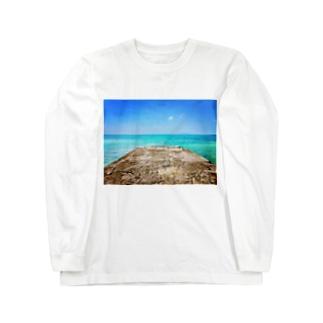 西桟橋とサバニ船 Long sleeve T-shirts