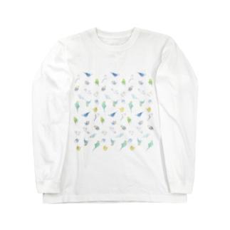 まめるりはことりのいっぱいセキセイインコちゃん【まめるりはことり】 Long sleeve T-shirts