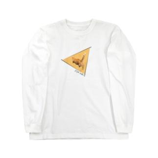 三角の中を歩く猫 ロンT Long sleeve T-shirts