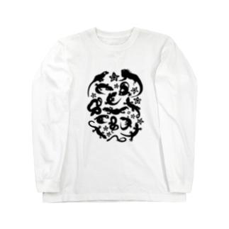 爬虫類たちのシルエット Long sleeve T-shirts