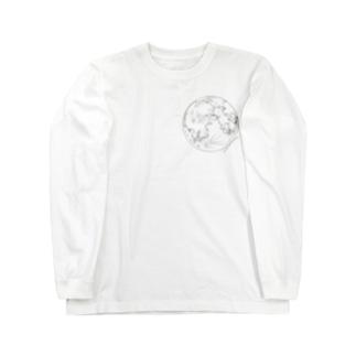 月の表面と裏面(両面印刷) Long sleeve T-shirts
