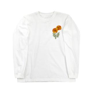 左胸にマリーゴールド Long sleeve T-shirts
