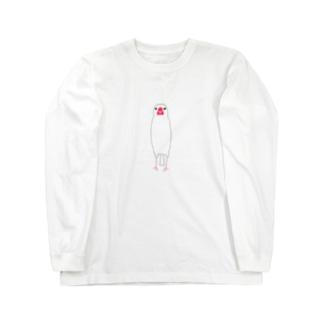 文鳥さん(背伸び) Long sleeve T-shirts