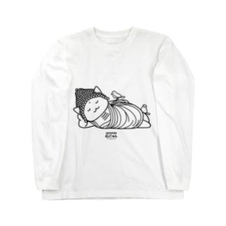 仏にゃん(黒線) Long sleeve T-shirts