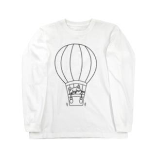 シバコロまる・気球(線画:黒バージョン) Long sleeve T-shirts