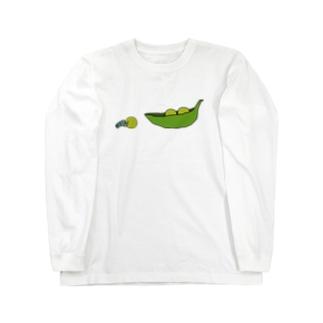 えんどう豆を運ぶフンコロガシ Long sleeve T-shirts