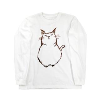 デブ猫さん Long sleeve T-shirts