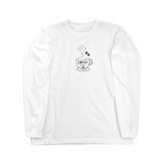 COFFEE CAT 2 湯気猫 Long sleeve T-shirts