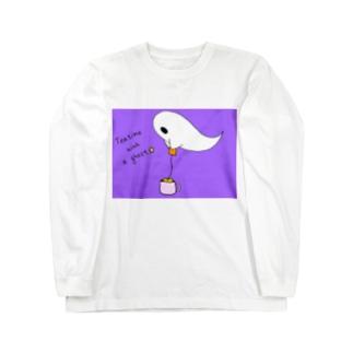 オバケとティータイム(色の変更可能) Long sleeve T-shirts