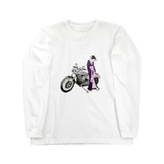 浮世絵とバイク-woman- Long sleeve T-shirts