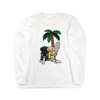 デッキチェアのラブラドール Long sleeve T-shirts