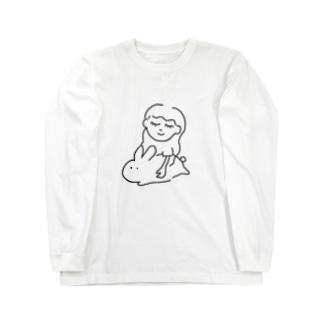 癒しのビックうさぎ Long sleeve T-shirts