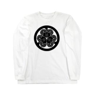 動物家紋。H.T.(三つ葉葵ハシビロコウ) Long sleeve T-shirts
