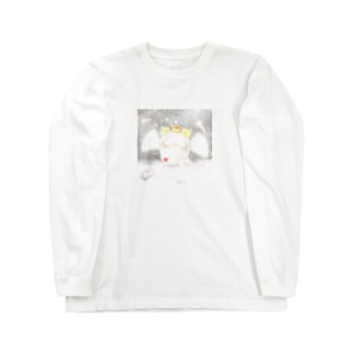 《イラスト13》*てんしなひつじ*ホワイト Long sleeve T-shirts