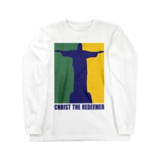 ポップなコルコバードのキリスト像 Long sleeve T-shirts